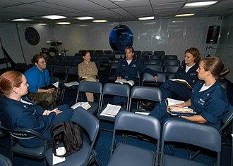 Cell group - Image: US Navy 040615 N 4190W 001 A women's Bible study is held in the ship's chapel aboard the conventionally powered aircraft carrier USS John F. Kennedy (CV 67)