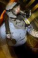 US Navy 040703-N-9183C-002 Journalist 2nd Class Shane Tuck investigates possible casualties during a General Quarters drill aboard USS Ronald Reagan CVN 76.jpg