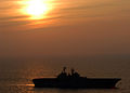 US Navy 050517-N-4707B-008 The sun sets over the amphibious assault ship USS Iwo Jima (LHD 7) as she cruises along the Oslow Bay area off the coast of Camp LeJeune, N.C.jpg