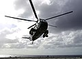 US Navy 050601-N-5334H-004 The UH-3H Sea King helicopter embarked aboard USS Blue Ridge (LCC 19), takes off during flight quarters off the coast of Australia.jpg
