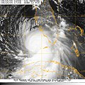 US Navy 050826-N-0000W-001 Satellite imagery showing the anticipated track of Hurricane Katrina. The storm crossed South Florida Thursday and headed back to sea in the Gulf of Mexico.jpg