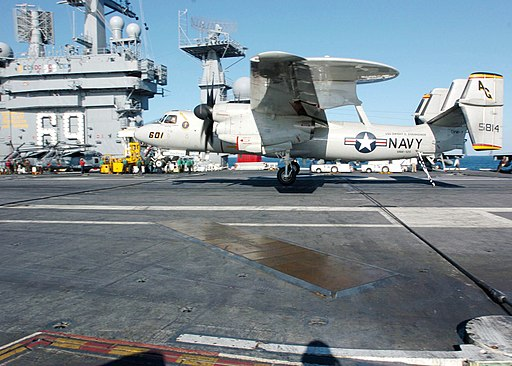 US Navy 060227-N-7359L-002 An E-2C Hawkeye assigned to the Tigertails of Carrier Airborne Early Warning Squadron One Two Five (VAW-125), lands aboard the Nimitz-class aircraft carrier USS Dwight D. Eisenhower (CVN 69)