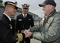 US Navy 070404-N-8487G-281 USS Juneau (LPD 10) Commanding Officer, Capt. John D. Alexander exchanges greetings and gifts with Capt. Rade Sun Kim of ROKS Chung Nam (FF 953) after Juneau arrived in Busan, for a scheduled visit.jpg