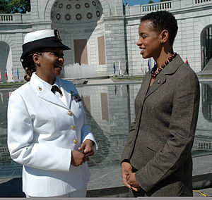 Donna Edwards - Edwards speaking with a U.S. Navy sailor in May 2009.