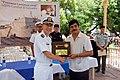 US Navy 090623-F-7522G-001 La Union Mayor Osmar Ovidio Cruz presents the keys to the city to Capt. Tom Negus, commanding officer of the Military Sealift Command hospital ship USNS Comfort (T-AH 20).jpg