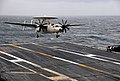 US Navy 100205-N-4774B-697 mdr. Miguel Peko, prospective commanding officer of Carrier Airborne Early Warning Squadron (VAW) 125, lands an E-2C Hawkeye aircraft aboard the Nimitz-class aircraft carrier USS Carl Vinson (CVN 70).jpg