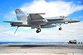 US Navy 100310-N-2953W-491 An F-A-18 Super Hornet prepares to land on the flight deck of USS Carl Vinson (CVN 70).jpg