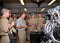 US Navy 100615-N-1289R-001 An Embry-Riddle Aeronautical University instructor discusses propeller versus turbine driven engine designs with Navy Junior ROTC cadet ensigns during a science, technology, engineering and math (STEM.jpg