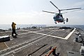 US Navy 100720-N-7638K-222 A Ukrainian navy KA-27 Helix helicopter from Saki Naval Air Base in Ukraine, conducts deck land qualifications with the guided-missile frigate USS Taylor (FFG 50) during exercise Sea Breeze 2010.jpg