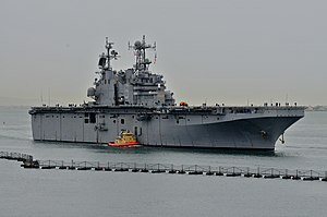 US Navy 111213-N-UH865-207 The amphibious assault ship USS Peleliu (LHA 5) gets underway for the first time since completing a planned maintenance.jpg