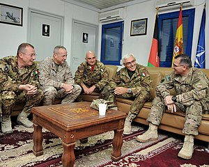 Train Advise Assist Command – West - Marine Gen. John R. Allen, commander of NATO's International Security Assistance Force (ISAF), and U.S. Army Lt. Gen. Curtis Scaparrotti, ISAF Joint Command commander, meet with the Italian Chief of the Defence Staff General Biagio Abrate and other Italian Army generals prior to the start of the Regional Command-West (RC-W) Transfer of Authority (TOA) ceremony in Herat province, Sept. 29, 2011.