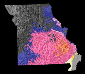 Missouri - A physiographic map of Missouri.