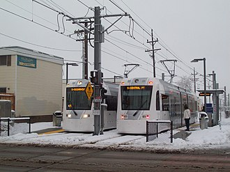 S Line (Utah Transit Authority) - Looking west at two S Line streetcars at 500 East stop