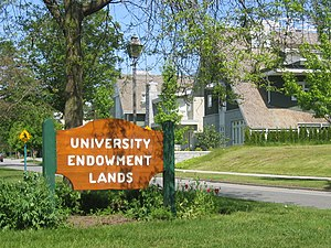 University Endowment Lands - A University Endowment Lands welcome sign on Northwest Marine Drive.