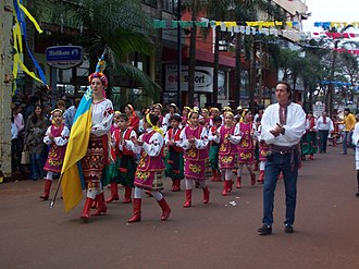Ukrainian Argentines - Ukrainian Argentines in parade in Misiones Province