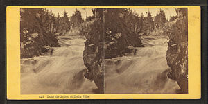 "Androscoggin River - Stereoscopic image ""Under the bridge at Berlin Falls"", by the Bierstadt Brothers"