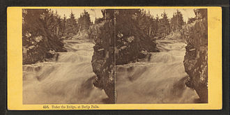"""Androscoggin River - Stereoscopic image """"Under the bridge at Berlin Falls"""", by the Bierstadt Brothers"""