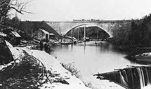 Union Arch Bridge - Union Arch Bridge, spanning Cabin John Creek, in 1863.