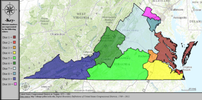 Virginias Congressional Districts Wikipedia - Us house district 13 map
