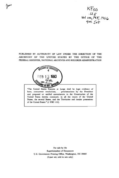 File:United States Statutes at Large Volume 100 Part 5.djvu