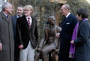 Darwin Day - Unveiling of the Young Darwin statue at Christ's College, Cambridge. Left to right; Alan Smith (benefactor), Master of Christ's College Frank Kelly, Anthony Smith (sculptor), HRH Prince Philip, Vice-Chancellor Alison Richard.