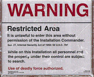 Deadly force - Warning sign at Langley AFB
