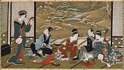 Utagawa Toyoharu: A Winter Party