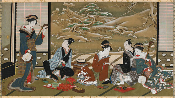 Painting of a three Japanese woman entertaining two Japanese men