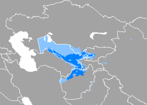 A map, showing that Uzbek is spoken throughout Uzbekistan, except the western third (where Karakalpak dominates) and Northern Afghanistan.