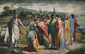 Vicar of Christ - Christ's Charge to Peter by Raphael, 1515. Catholics believe that in telling Peter to feed his sheep, Christ was entrusting to the papacy the responsibility of caring for the Church.