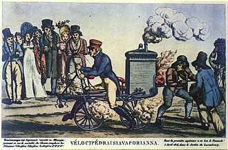 Motorcycle engine - Earliest motorcycle engine concept. This 1818 caricature was thought for many years to be entirely fanciful, until the Michaux-Perreaux, Roper and other steam cycles were rescued from obscurity, and the stories of the early steam cycle experiments were rediscovered. There were no steam motorcycles in 1818, but there soon would be.