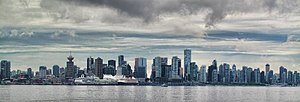 Vancouver skyline  from the Lonsdale Quay in North Vancouver.