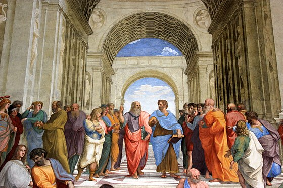 The School of Athens, a famous fresco by the Italian Renaissance artist Raphael, with Plato and Aristotle as the central figures in the scene Vaticano 2011 (88).JPG
