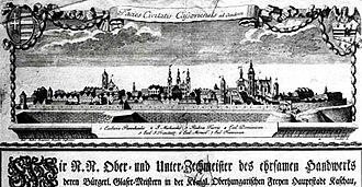 Košice - The military base in Košice at the end of the 18th century