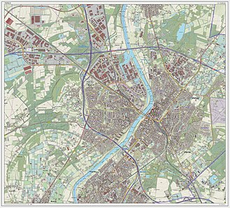 Venlo - Dutch Topographic map of Venlo (city), as of March 2014
