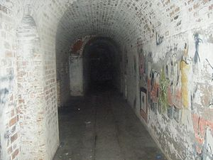 Verne High Angle Battery - A view inside one of the battery's underground magazine tunnels