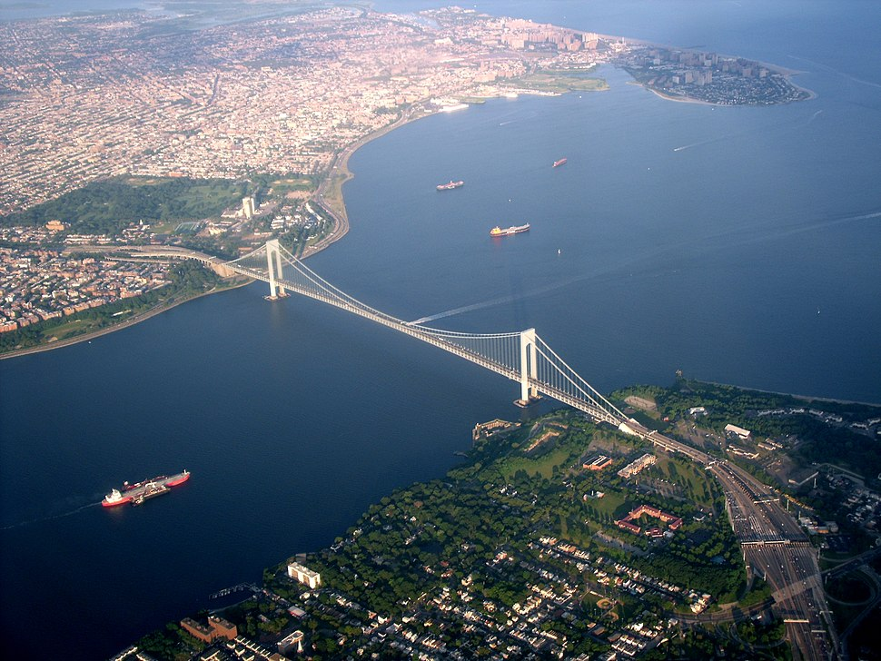  The Verrazano-Narrows Bridge, one of the world's longest suspension bridges, connecting Staten Island, foreground, to Brooklyn, in the background, across The Narrows. 