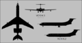Vickers VC.10 K.3 three-view silhouette and K.2 side-view silhouette.png