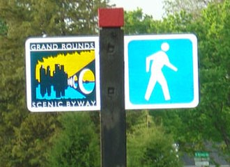 Grand Rounds National Scenic Byway - A sign designating the Grand Rounds pedestrian path.