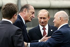 Yury Luzhkov - Luzhkov with Vladimir Putin and Jacques Chirac, 9 May 2005