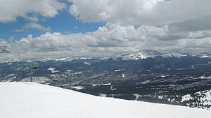 Breckenridge, Colorado - An aerial view of the town of Breckenridge from the top of the Kensho SuperChair on Peak 6