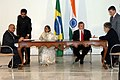 Vilas Muttemwar and the Brazil Foreign Minister, Mr. Celso Amorim ready signing an agreement on Extradition Treaty and MOU for cooperation in Agriculture.jpg