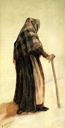 Sketch of an old woman with a shawl carrying a cane seen from behind