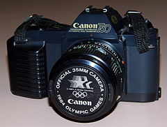 Vintage Canon T50 35mm SLR Film Camera, Made In Japan, Official 35mm Camera Of The 1984 Olympic Games (16211879289).jpg