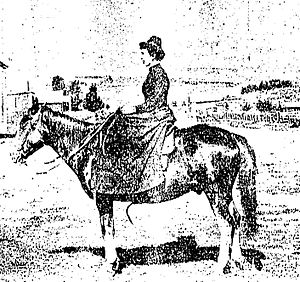Virginia Dox - Virginia Dox on her pony in Oxford, Idaho in 1885.