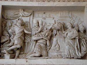 Kingdom of Sicily under Savoy - Relief depicting Victor Amadeus' coronation in Palermo, from the southern portico of the cathedral of Palermo.