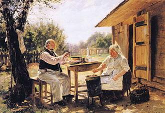 "Varenye - Vladimir Makovsky, ""Making varenye"", 1876"