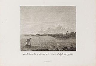 Vue de l´embouchure de la rivière de Sta Cruz et de l´église qui s´y trouve