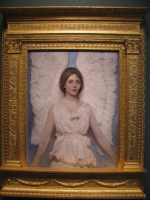 "Kimbel and Cabus - Angel (1887) by Abbott Handerson Thayer, Smithsonian American Art Museum, Washington, D.C. Cabus carved this Stanford White-designed ""tabernacle"" frame."