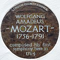 WOLFGANG AMADEUS MOZART 1756-1791 composed his first symphony here in 1764 (cropped).JPG